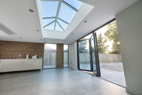 korniche aluminium roof lantern skylight kitchen bifold patio door