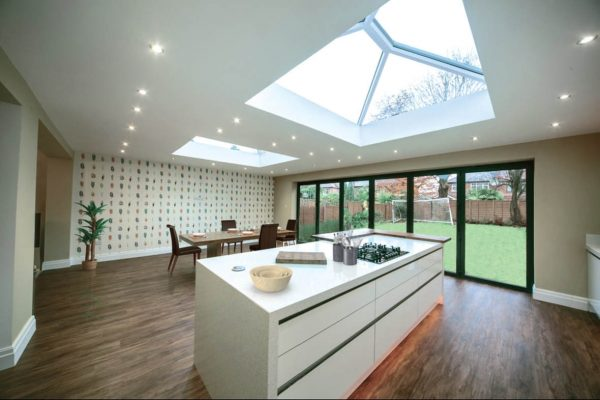 skypod pvcu roof lantern interior bifold kitchen